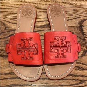 Tory Burch orange slide sandals